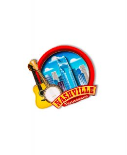 Nashville Skyline Circle Magnet