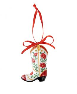 Opry Resin Flower Cowboy Boot Ornament