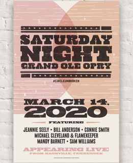 Grand Ole Opry Lineup Poster March 14th 2020