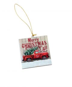 Opry Red Truck Plank Ornament